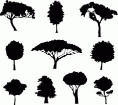 Different Trees Silhouette DXF Vectors File
