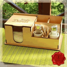 Dining Table Organizer Napkin and Spice Holder, Toothpick Holder Laser Cut Free CDR File