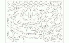 DINOTA 3D Puzzle Laser Cut DXF File