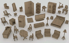 Doll Furniture with House CNC Laser Cutting Free CDR Vectors File