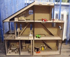 Doll House with Toy Car Parking Garage 4mm Free CDR File