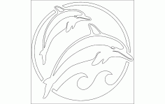Dolphins Set Template CNC Router Free DXF File