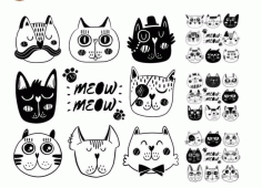 Doodle Cat Illustration Vector Art Free CDR Vectors File