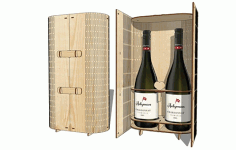 Double Wine Box Wooden Two Bottle Wine Gift Box Laser Cut CDR File