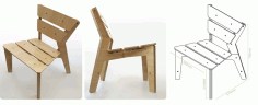 Drawings Plywood Chair Kross Hair Laser Cut DXF File