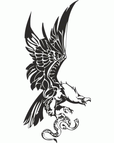 Eagle with Snake in Claws Vector Free Download CDR File