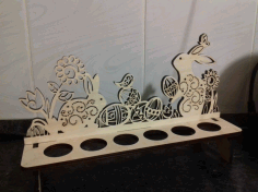 Easter Bunnies Egg Holder Laser Cut Template Free CDR Vectors File