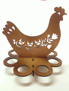 Easter Egg Tray Holder Stand Chicken Laser Cut Free CDR Vectors File