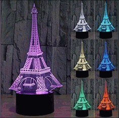 Eiffel Tower Acrylic 3D Illusion Lamp Free CDR Vectors File