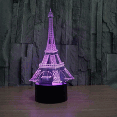 Eiffel Tower Acrylic 3D Illusion Lamp Laser Cut CDR File
