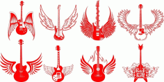 Electric Guitars with engraving wings CDR File