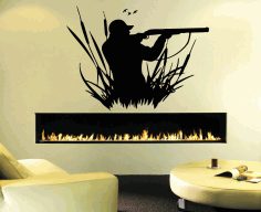 Engrave Duck Hunting Wall Art Decal Laser Cut DXF File
