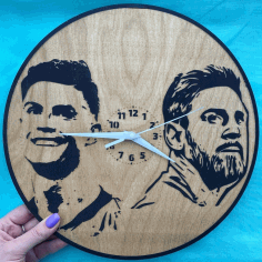 Engraved Messi Ronaldo Exclusive Wall Clock Laser Cut CDR File