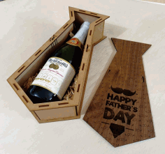 Engraved Potato Tie Personalised Wooden Wine Gift Box Fathers Day Laser Cut CDR File