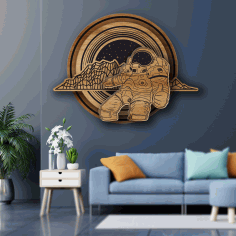 Engraved Space Wall Art Cosmos Theme Wall Decor Man In Space Art Laser Cut CDR File