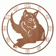 Engraved Wolf Wall Clock Laser Cut CDR File