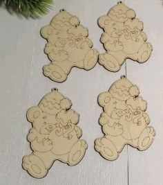 Engraved Wooden Christmas Magnets Laser Cut CDR File