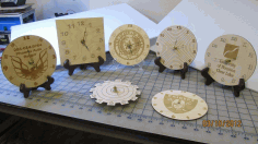 Engraved Wooden Clocks With Logos CDR File