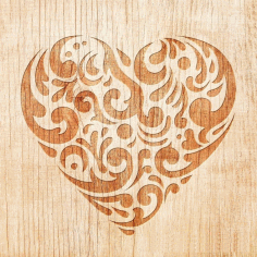 Engraving Decorative Heart Pattern Laser Cut Design DXF File
