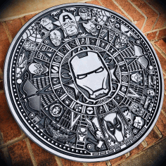 Engraving Marvel Aztec Calendar Laser Cutting CDR File