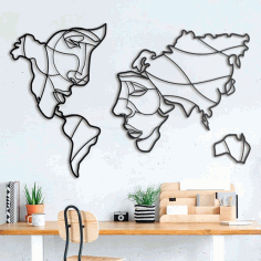 Faces of The World Map Wall Art Laser Cut Free CDR File