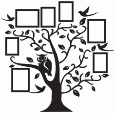 Family Tree Frame Artwork Free DXF Vectors File