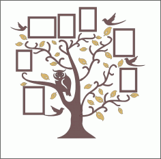 Family Tree Owl Photo Frames CNC Laser Cut Free CDR File