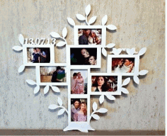 Family Tree Picture Frame CNC Laser Cut Free CDR File