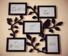 Family Tree With Photo Frames For Laser Cutting CNC Laser Cut Free CDR File
