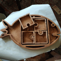 Fish Shape Serving Tray Laser Cut CNC Scroll Saw Plans CNC Laser Cut DXF File