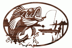 Fisherman Mural Wall Decor Laser Cutting Template Free CDR File
