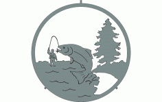 Fishing Silhouette Design CNC Router Free DXF File