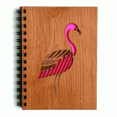 Flamingo wooden Notebook Cover Laser Cut Design CDR File