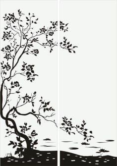 Floral Bush Tree Sandblast Pattern CNC Laser Cut Free CDR File