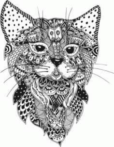 Floral Cat For Laser Cut Plasma Decal Free Vector DXF File