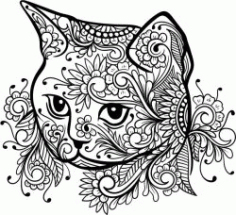 Floral Cat For Laser Engraving Machines Free Vector CDR File