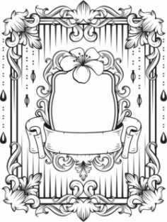 Floral Frame For Laser Engraving Machines Free Vector CDR File