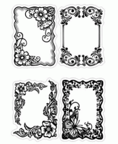 Floral Frame For Print Laser Engraving Machines Free Vector DXF File
