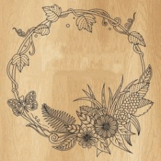 Floral Round Frame For Print Or Laser Engraving Machines Free Vector CDR File
