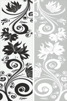 Floral Seamless Sandblast Pattern Room Divider and Background Screen Panels Laser Cut CDR File