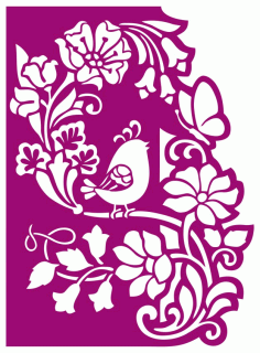 Floral Wedding Panel With Bird Laser Cutting CDR File