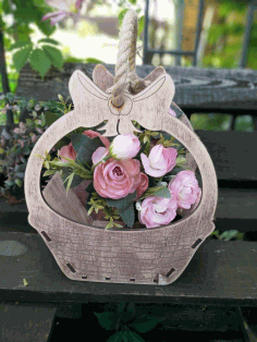 Flower Basket Template Laser Cut CDR File