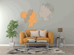 Flower Lady Wall Art Decal Laser Cut Free CDR File