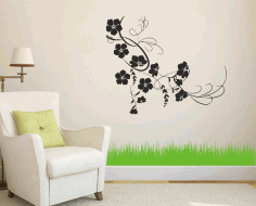 Flower Vine Wall Decor Ideas Laser Cut Free CDR File