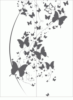 Flying Butterfly Clipart Black And White Vector CDR File