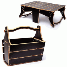 Folding Picnic Wooden Table Basket Laser Cut Free CDR File