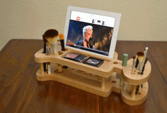 For Ladies Makeup Kit iPad Stand Pen Holder CNC Laser Template Laser Cut Free CDR File