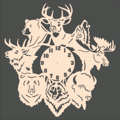 Forest Animals Wall Clock Laser Cut CDR File