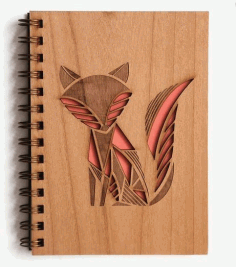 Fox Engraved Notebook Cover Laser Cut CDR File