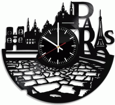 France Paris City Theme Vinyl Wall Clock Laser Cut DXF File